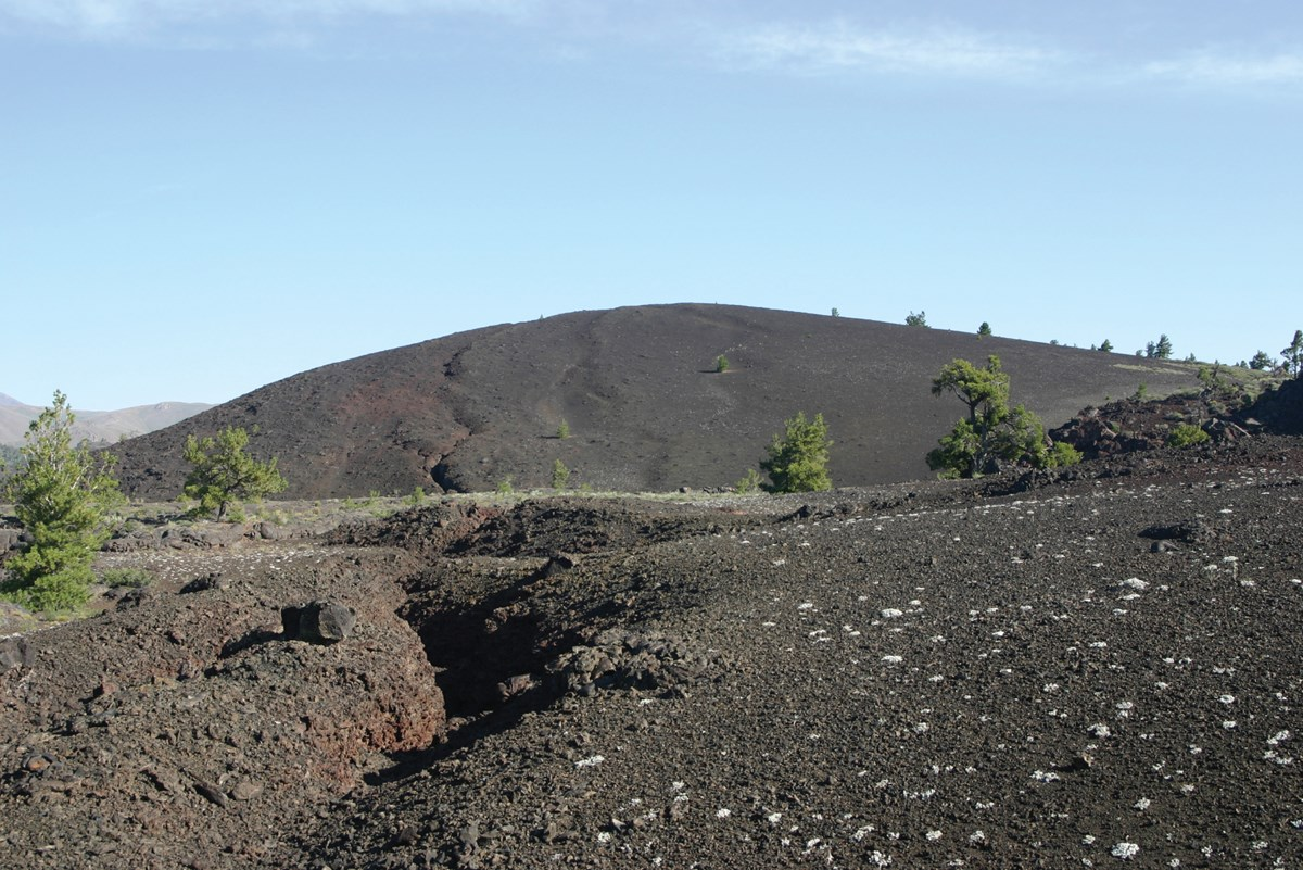 volcanic landscape with cinder cone