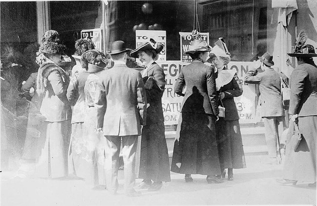 Women in San Francisco, CA, registering to vote. California adopted women's suffrage in Oct. 1911. Library of Congress.