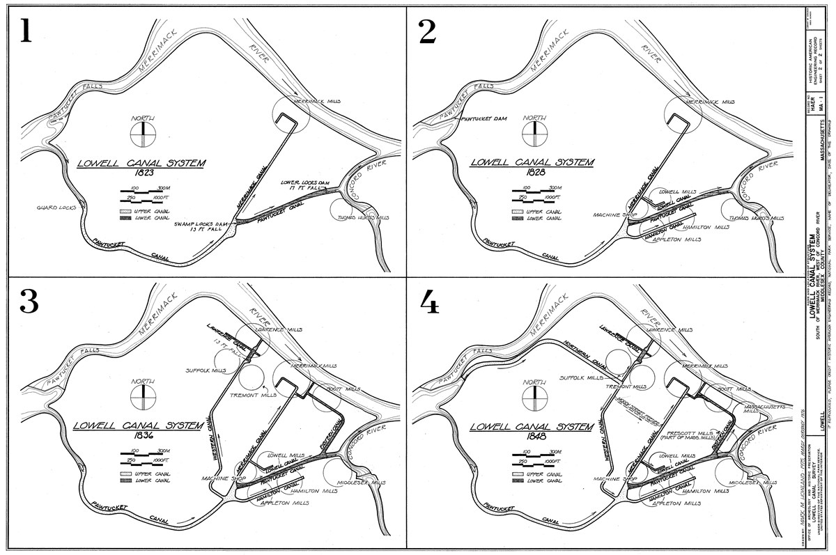 Historical evolution of the canals of Lowell, by Howland and Chrisney. HAER, collections of Library of Congress, public domain