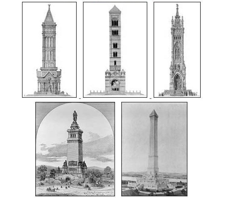 Drawings for potential designs of the Washington Monument. Library of Congress.
