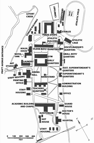 Map of a boarding school campus