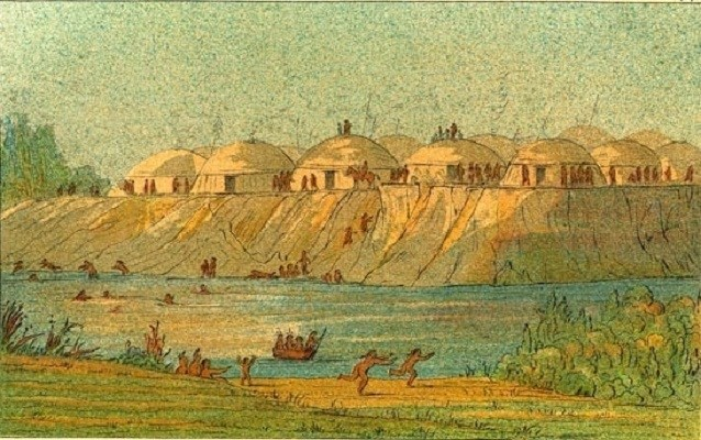 1836 painting of hidatsa village