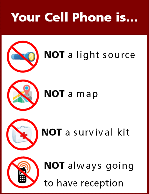 You cell phone is not a light source, not a map, not a survival kit and will not always have reception