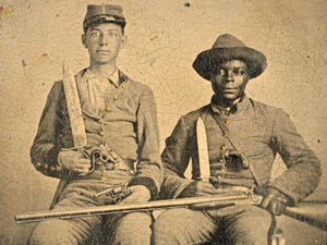 Photograph of Silas and Andrew Chandler in Confederate Uniforms