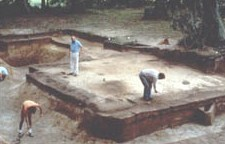 People excavating the foundation of a military structure