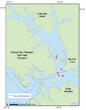 a map of whale observations from cruise ships in 2008 and 2009 from glacier bay
