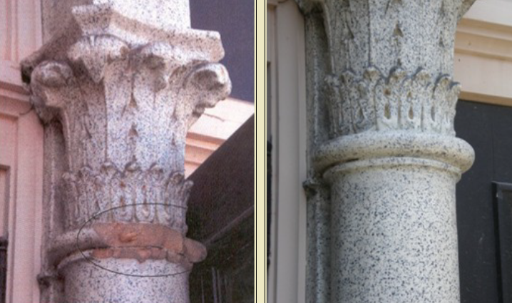 One image of a damaged stone column and the other of the same repaired.