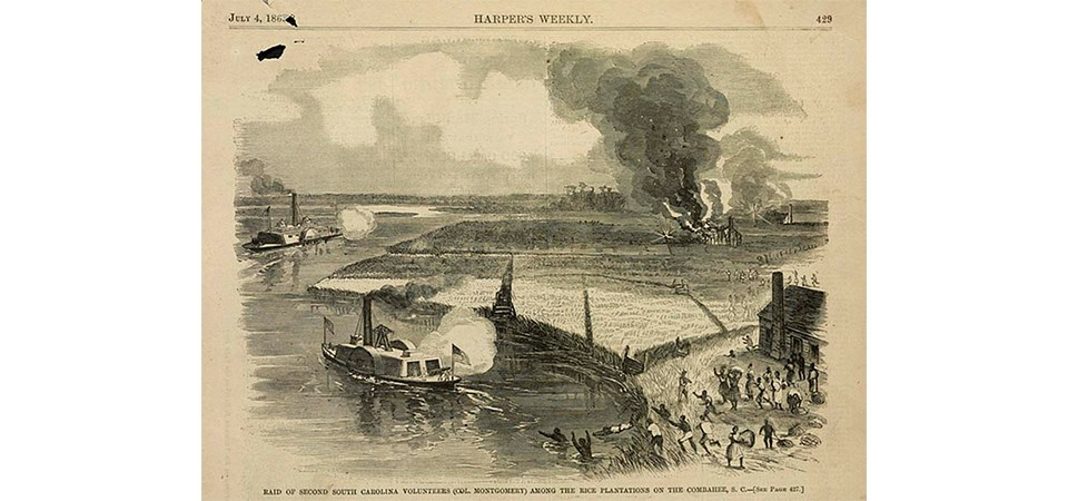 Sketch of the Combahee River with ships and soldiers fighting.