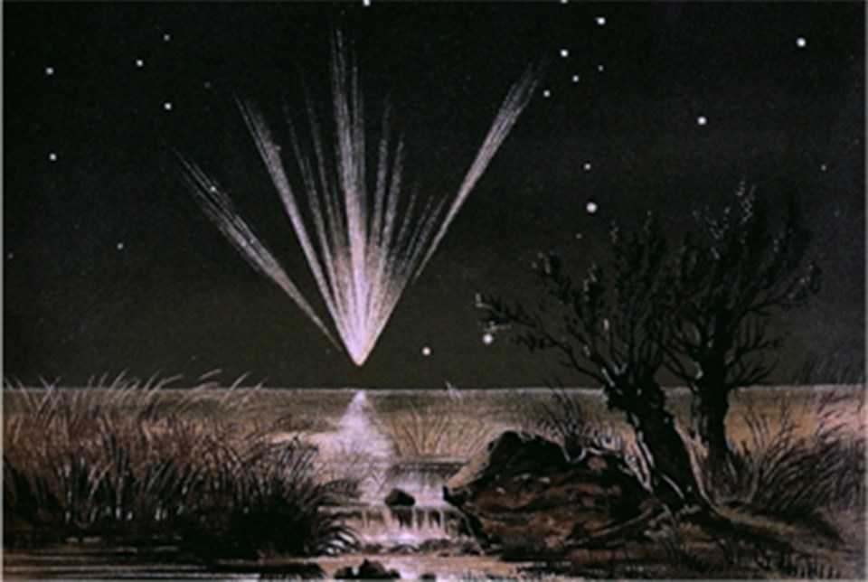 Print showing a dark night sky and comet streaking down center