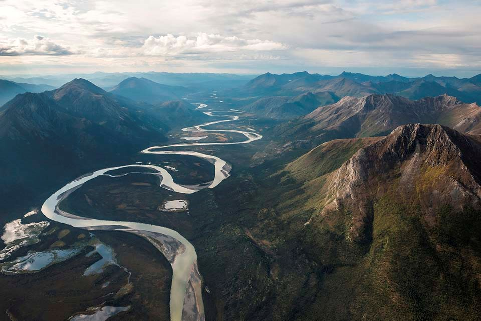 An aerial view of a wild river through the Brooks Range.