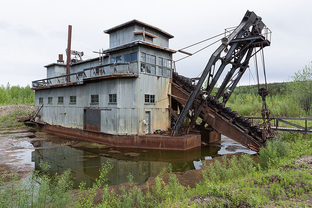 The 1930s-era gold dredge at the Coal Creek mining camp in the heart of Yukon-Charley Rivers National Preserve, 2014. NPS photo courtesy of Yasunori Matsui