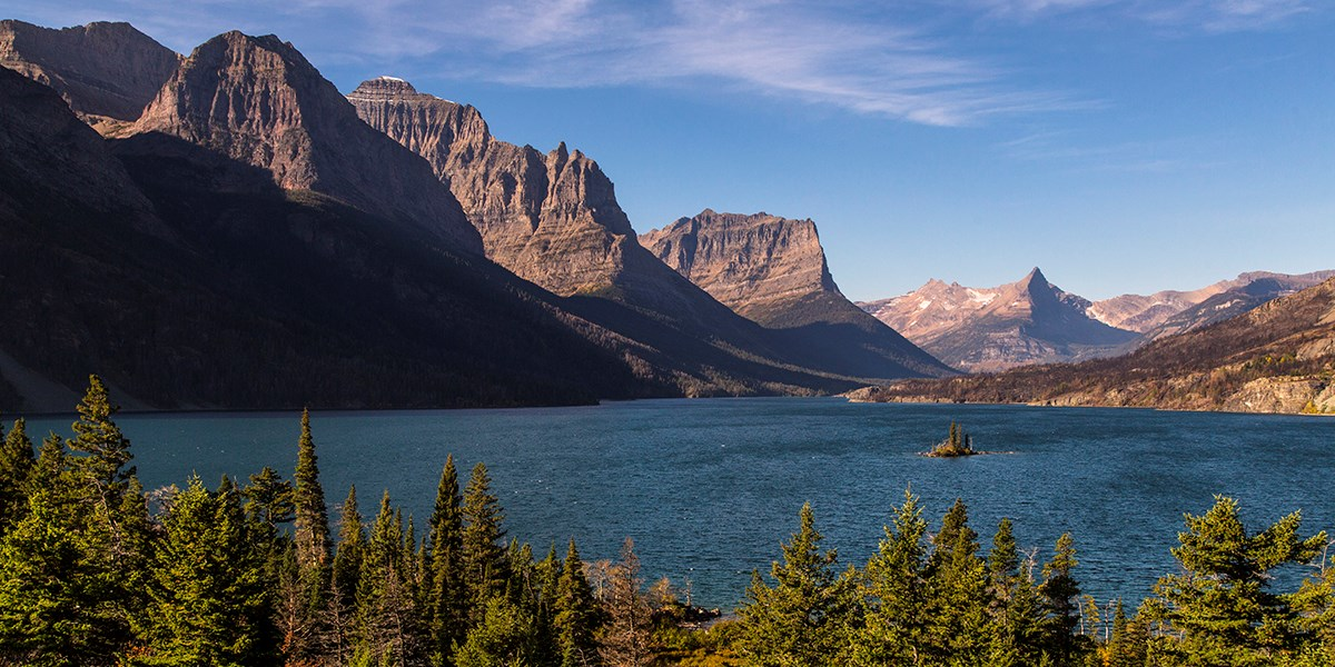 View of St. Mary Lake from Wild Goose Island Overlook