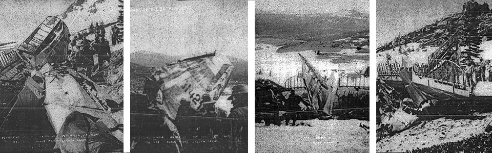 Series of four black and white photos of a plane crash on a hillside