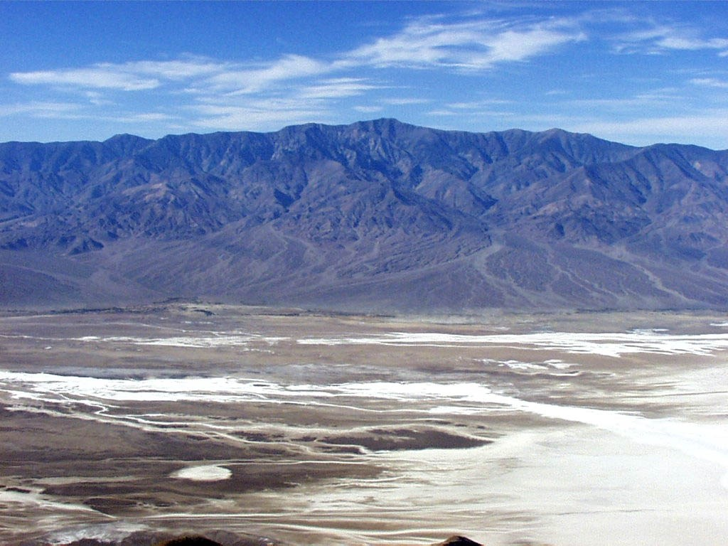 desert basin with mountains in background