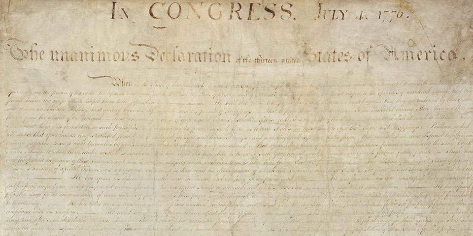 Color image of the handwritten Declaration of Independence.