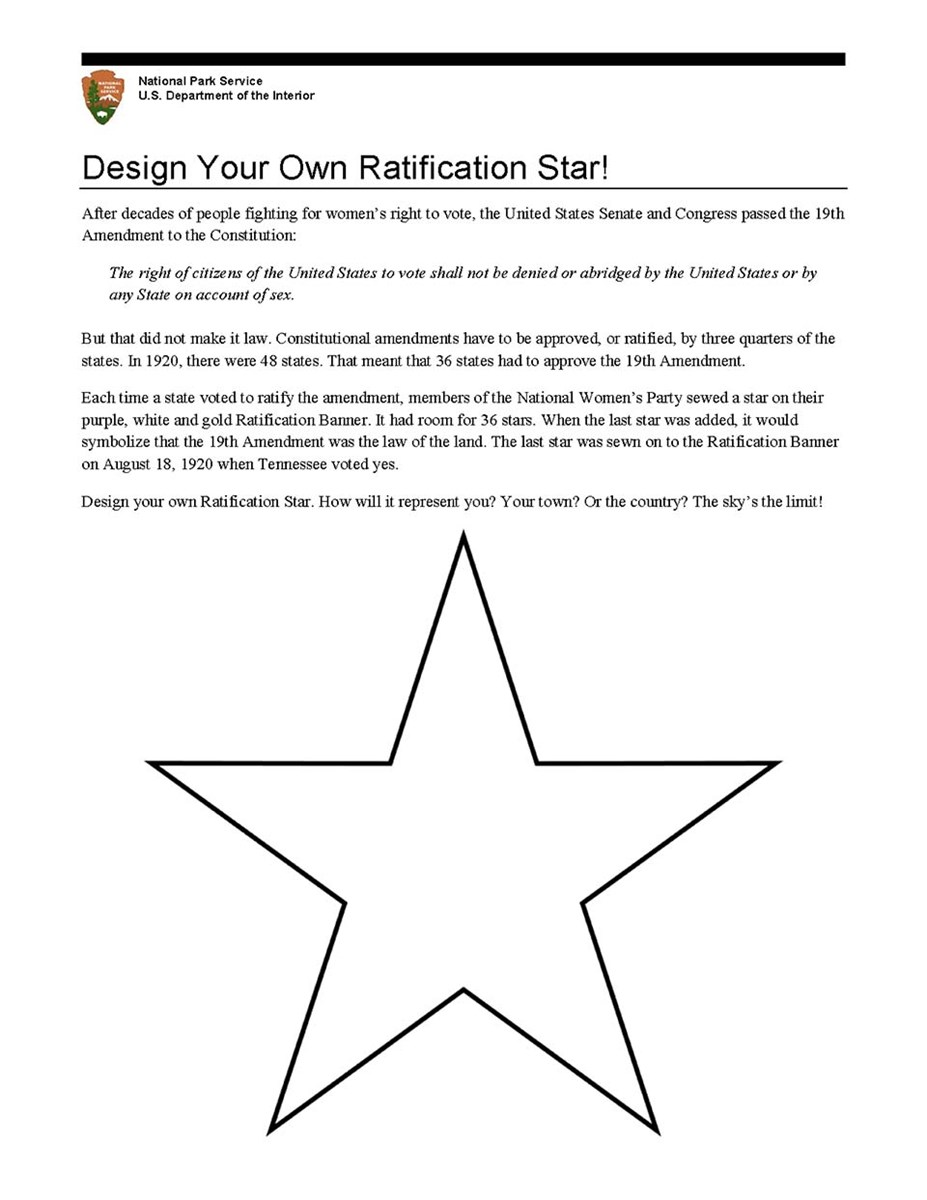 Image of an activity sheet where you can create your own Ratification Star