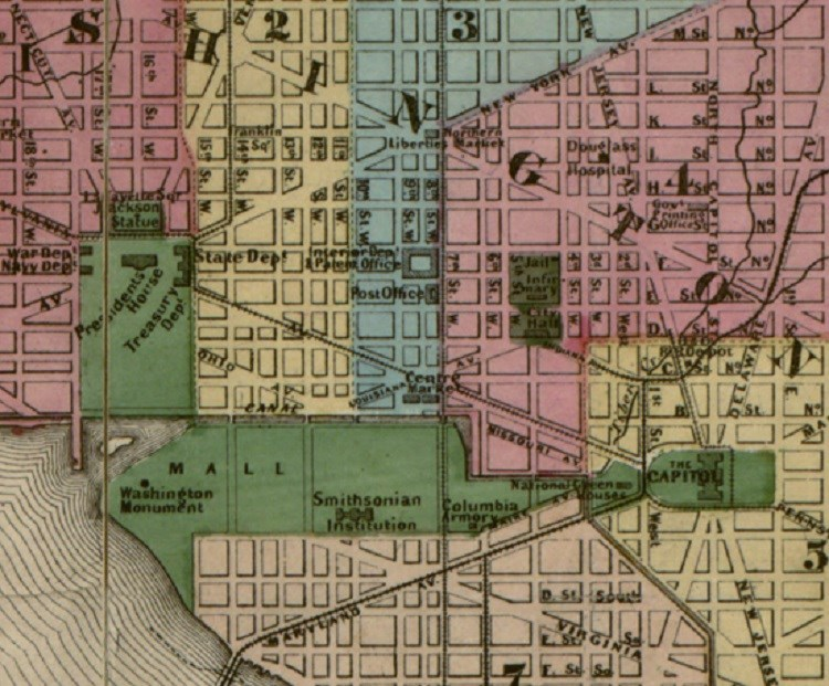 "Map of Washington,  DC. (Map by E.G. Arnold, ""Topographical map of the original District of Columbia and environs showing the fortifications around the city of Washington,"" 1862, Library of Congress.)"