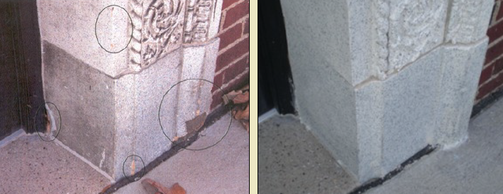 One image of damaged stone. The other of repaired stone.