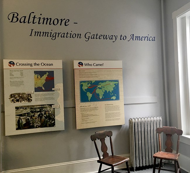 "Text: ""Baltimore - Immigration Gateway to America"""