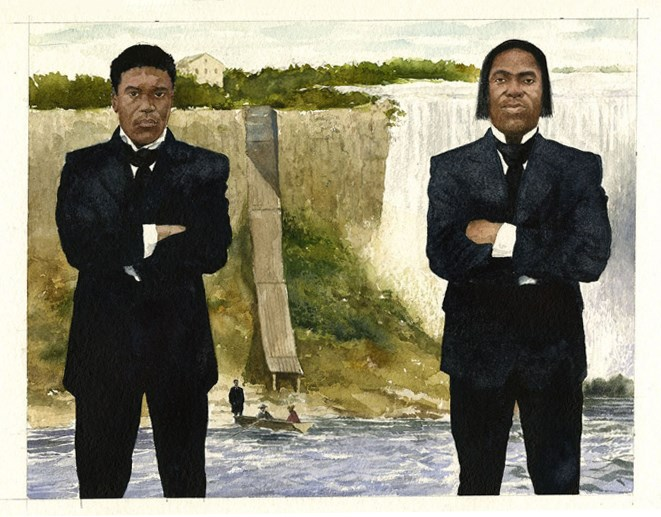 Illustration of two men in suits standing in front of the Niagara Falls.