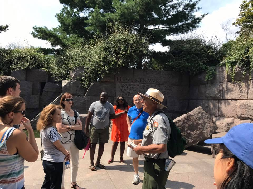 Ranger giving a talk to visitors at the Franklin Delano Roosevelt Memorial