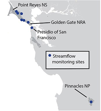 Map showing that streamflow monitoring occurs in GOGA, PORE, PINN, and the Presidio.