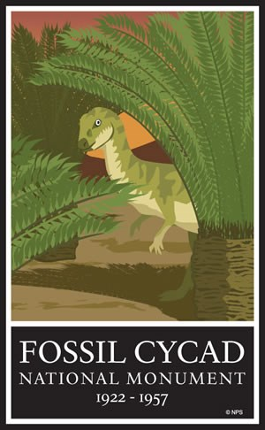Commemorative logo artwork for Fossil Cycad National Monument, depicting small dinosaur amongst some cycadeoids.