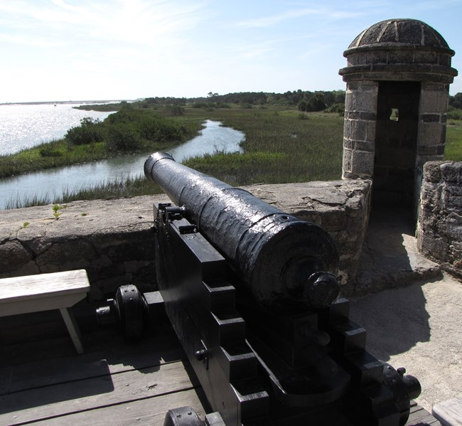 fort's cannon overlooking Matanzas River