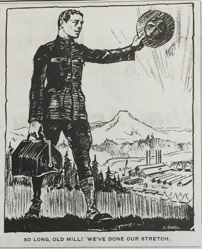 "Photograph of a newspaper cartoon drawing showing a man waving goodbye to the Spruce Mill. The caption reads ""So long, old mill. We've done our stretch."""