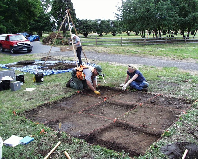 archaeologists working on a shallow excavation