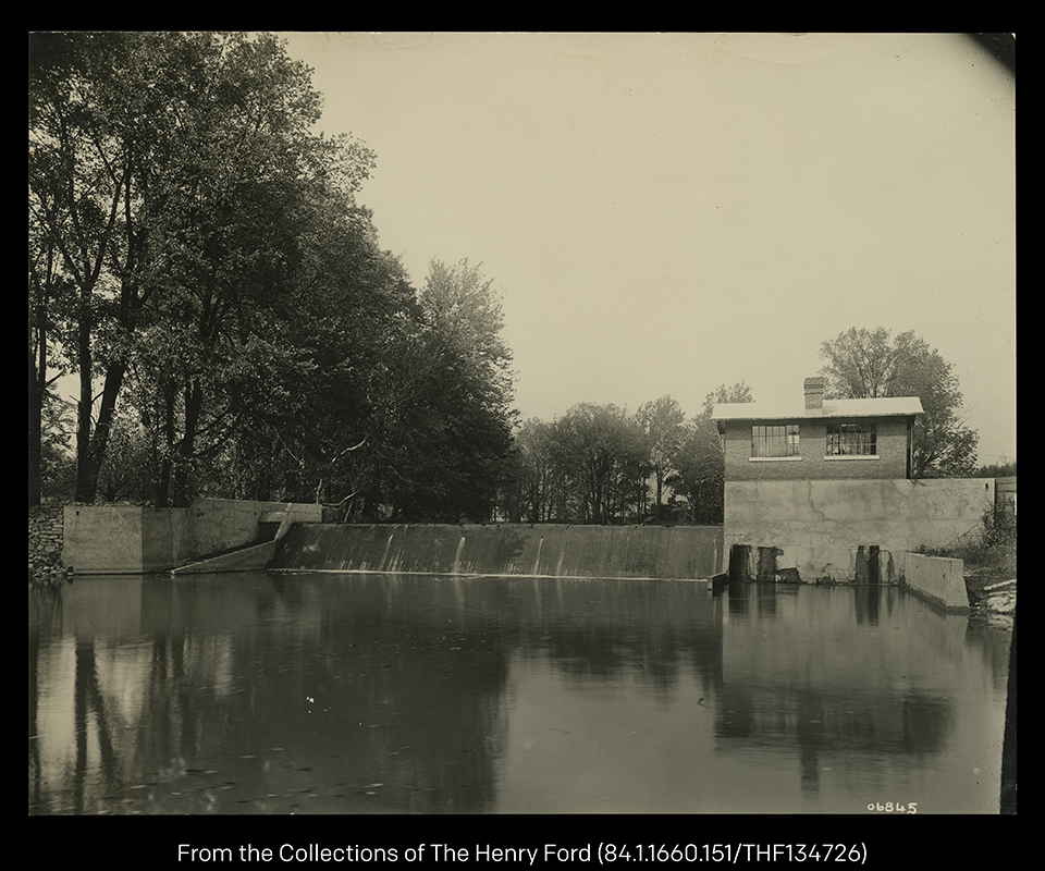 Henry Ford's concrete dam and brick powerhouse in 1909.