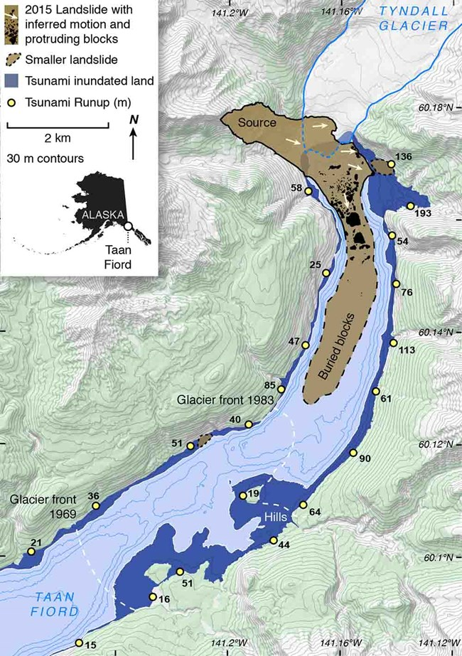 a topo map inset of the Taan Fiord landslide.