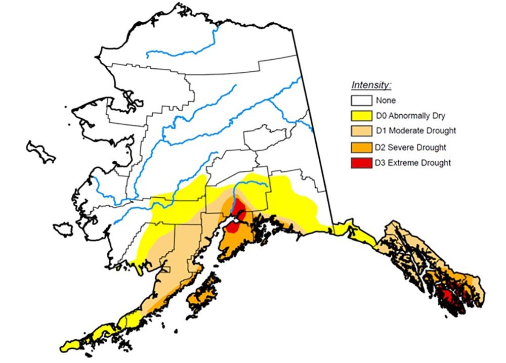 A map of Alaska with coloration indicating drought severity.