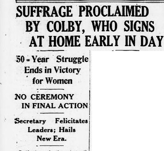 women's suffrage newspaper clipping