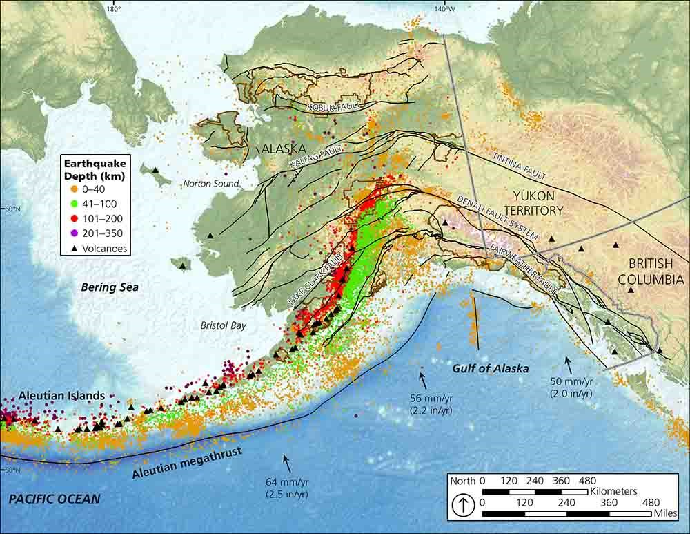 A map of Alaska showing earthquakes and their depth, volcanoes, and plate tectonics.