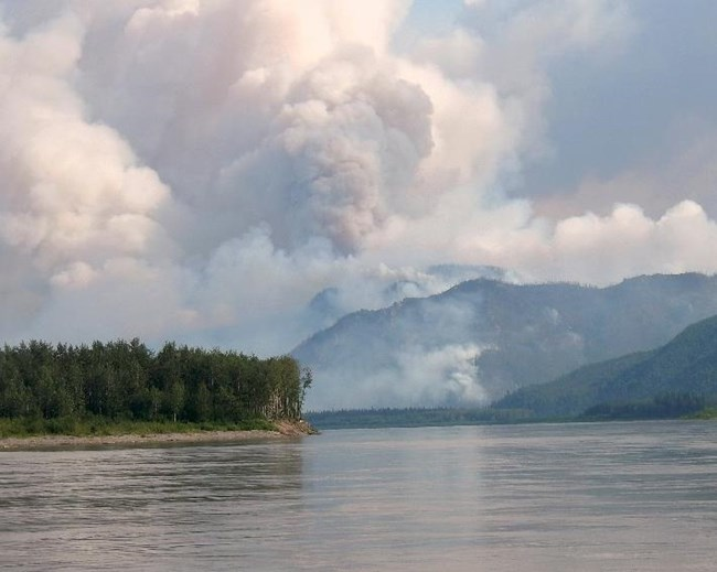 Figure 2. View from the Yukon River of the smoke column building on the Trout Creek Fire July 15, 2017.  (NPS Photo).