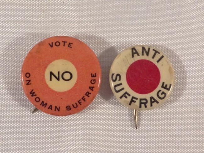 Anti Suffrage Pins. NOT PUBLIC DOMAIN.