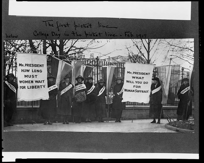 Suffrage picket. From collections of Library of Congress