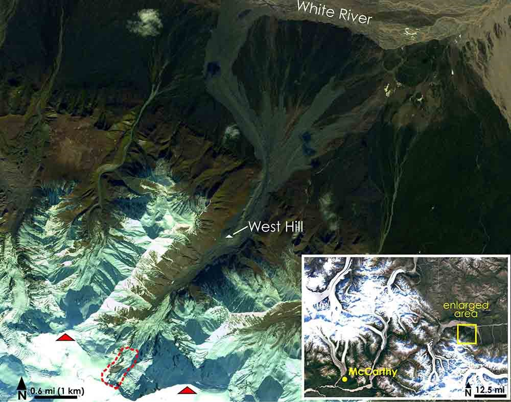 Aerial imagery showing the location of Flat Creek and the location of the glacier collapse.