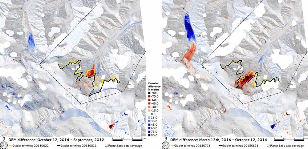 A comparison of digital elevation models to show the areas where materials were released and deposited during the landslide events.