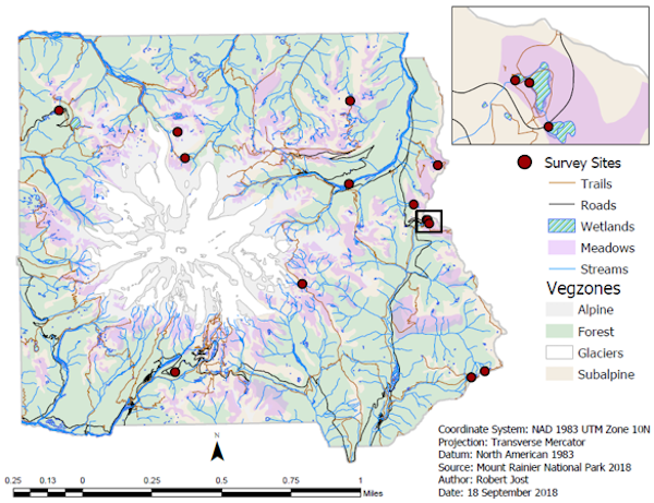 A map of Mount Rainier with different terrain (wetlands, meadows) shaded in different colors and survey sites marked with red dots.