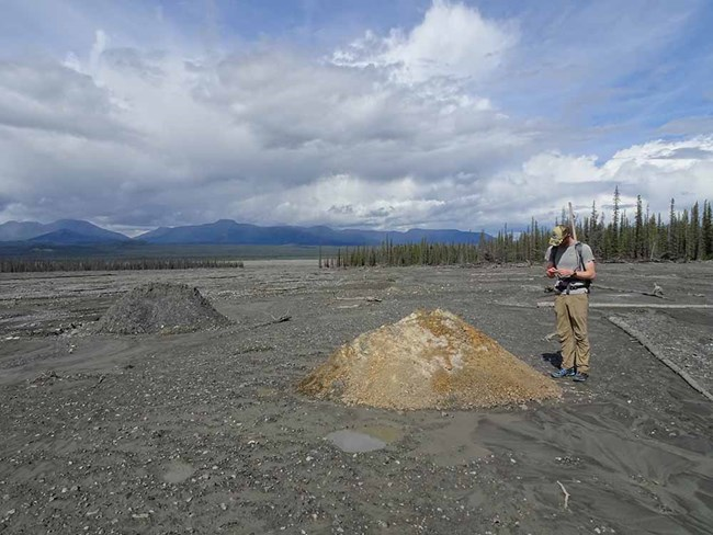 A researcher stands near a mound of rock transported by the debris flow.