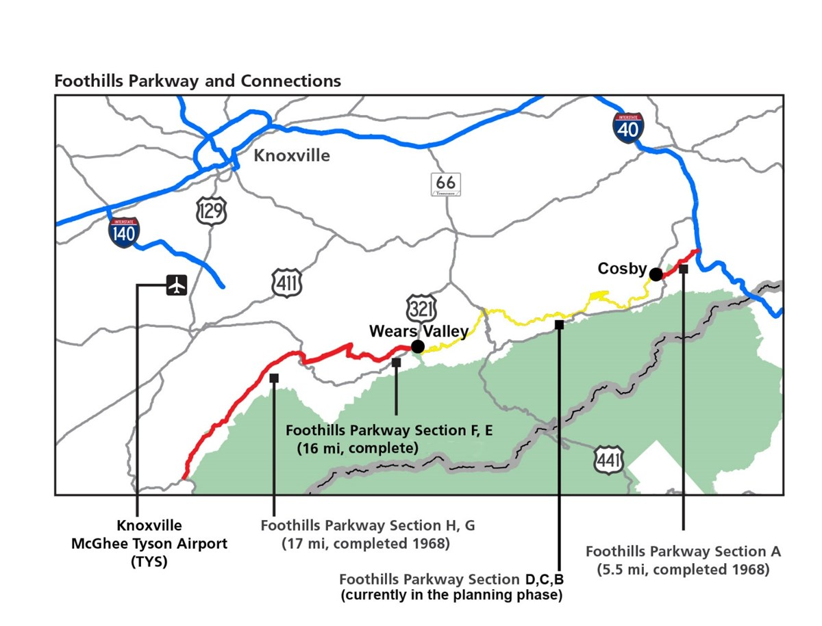 Map of Foothills Parkway, Section A - G