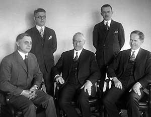 Mather and his staff, 1927 or 1928. L to R: Arno B. Cammerer, Arthur E. Demaray, Stephen T. Mather, George A. Moskey, and Horace M. Albright. All but Moskey were later NPS directors.