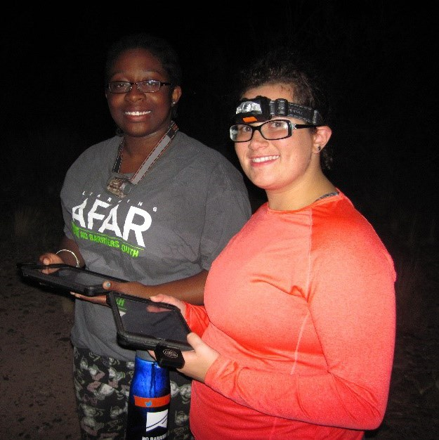 Young poeple outside at night with data pads and headlamps
