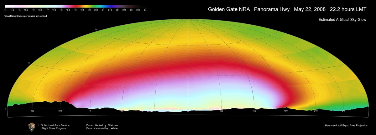 Panoramic image of all (natural and anthropogenic) sources of light as observed from Panorama Hwy at Golden Gate NRA in 2008.