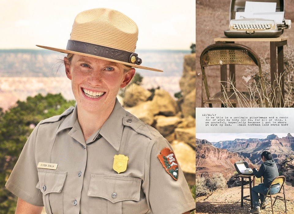 Three images, including a portrait of Elyssa Shalla, a typewriter on a table, and a person typing on a typewriter in the desert
