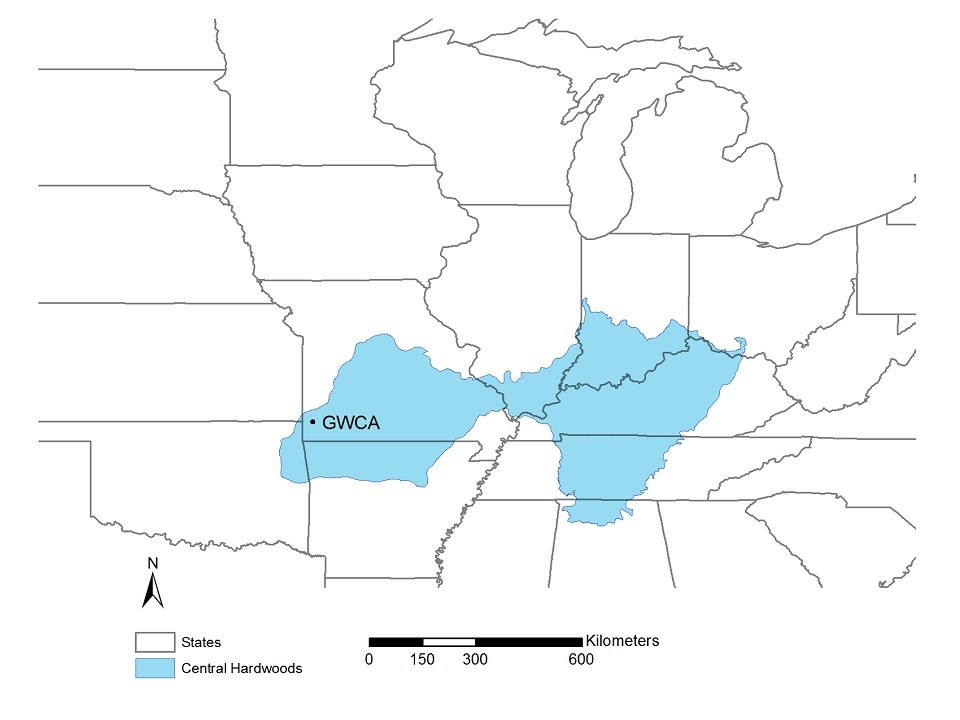 Map of Central Hardwoods Bird Conservation Region