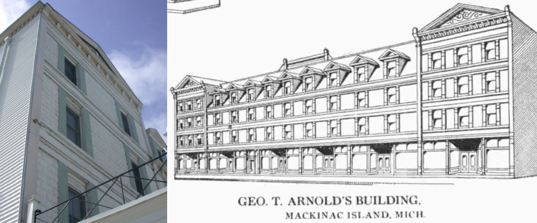 White building on the left and drawing of the building on the right.