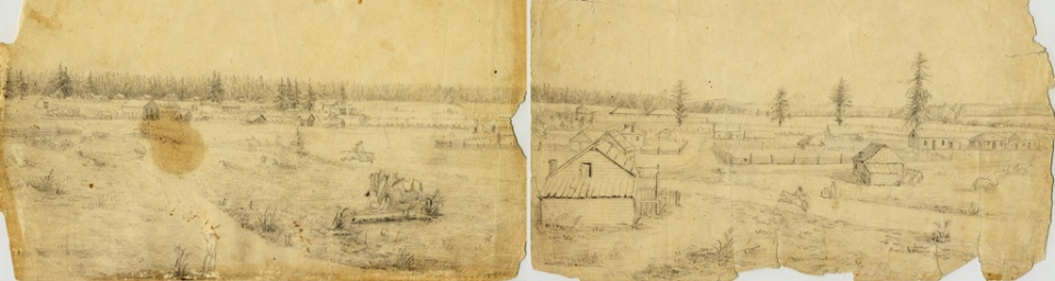 Two papers containing a panoramic sketch of village houses with Fort Vancouver and Mount Hood in